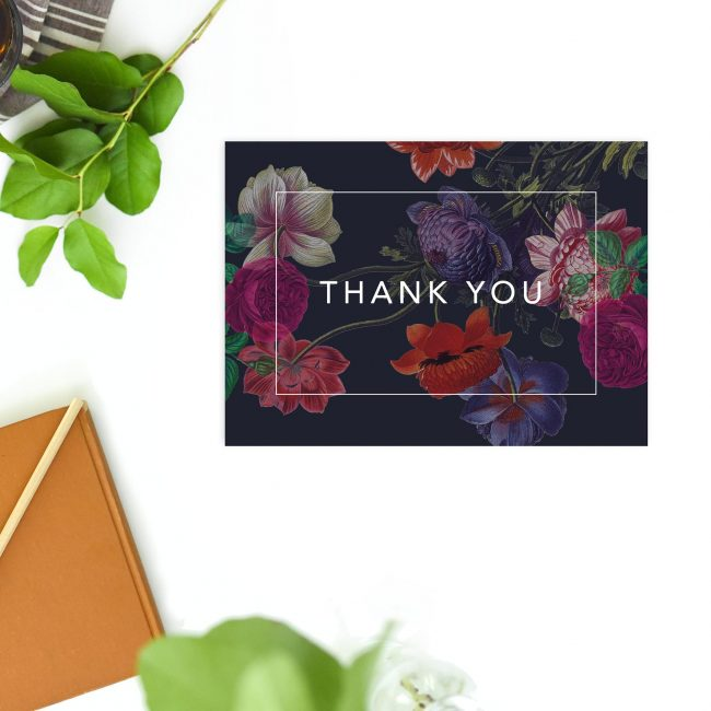 Deep Dramatic Dark Floral Wedding Thank You Postcards