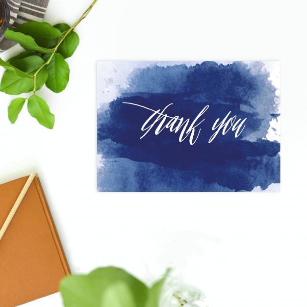 Elegant Navy Blue Watercolour Wedding Thank You Postcards