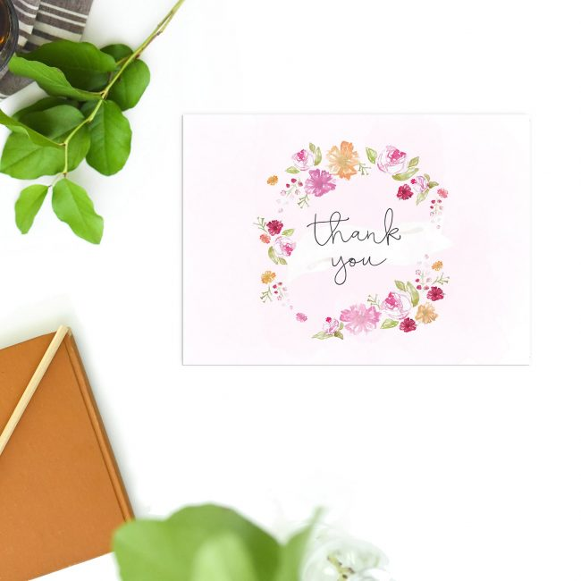 Pastel Flowers Floral Wreath Wedding Thank You Postcards