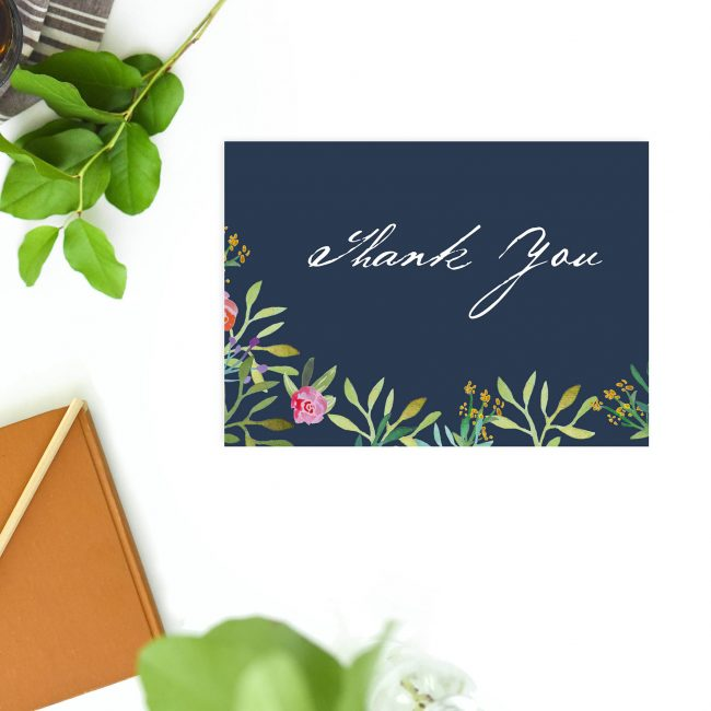 Navy Floral Watercolour Wedding Thank You Postcards