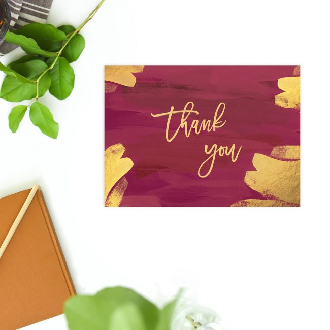 Brushed Gold Burgundy Wedding Thank You Postcards