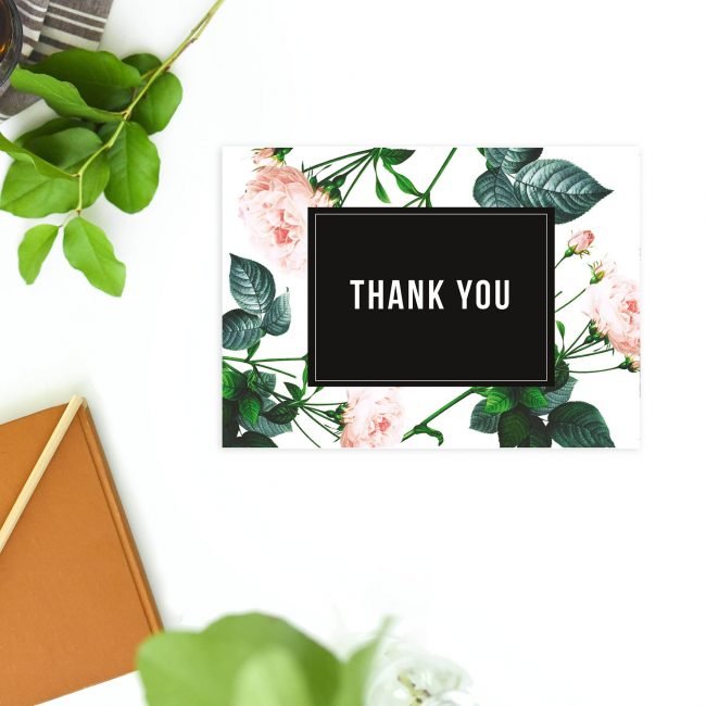 Modern Sophisticated Rose Wedding Thank You Postcards