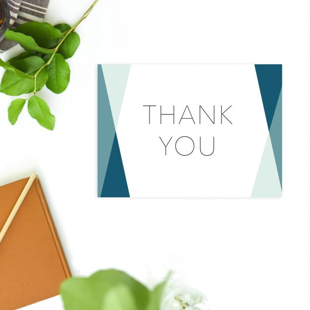 Blue Turquoise Clean Minimal Modern Simple Wedding Thank You Postcards