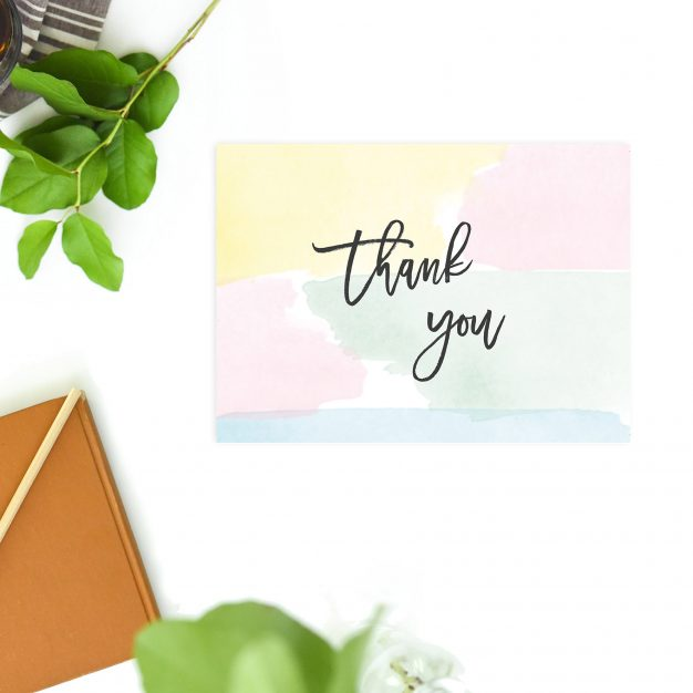 Pink Blue Green Pastel Watercolour Wedding Thank You Postcards