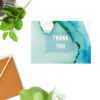 Turquoise Abstract Watercolour Wedding Thank You Postcards