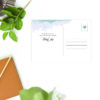 Turquoise Blue Watercolour Wash Wedding Thank You Postcards
