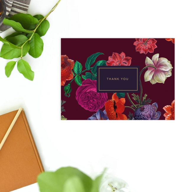 Elegant Burgundy Floral Wedding Thank You Postcards