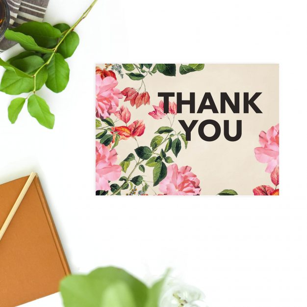 Modern Bold Black Font Floral Foliage Wedding Thank You Postcards