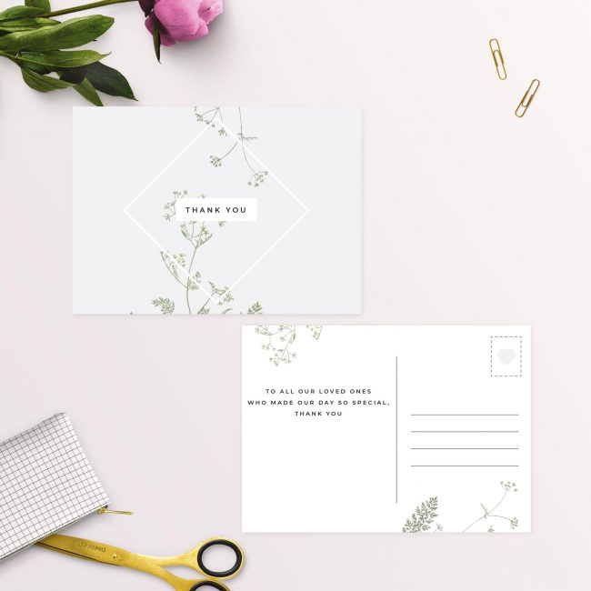 Pale Grey Modern Botanical Wedding Thank You Postcards