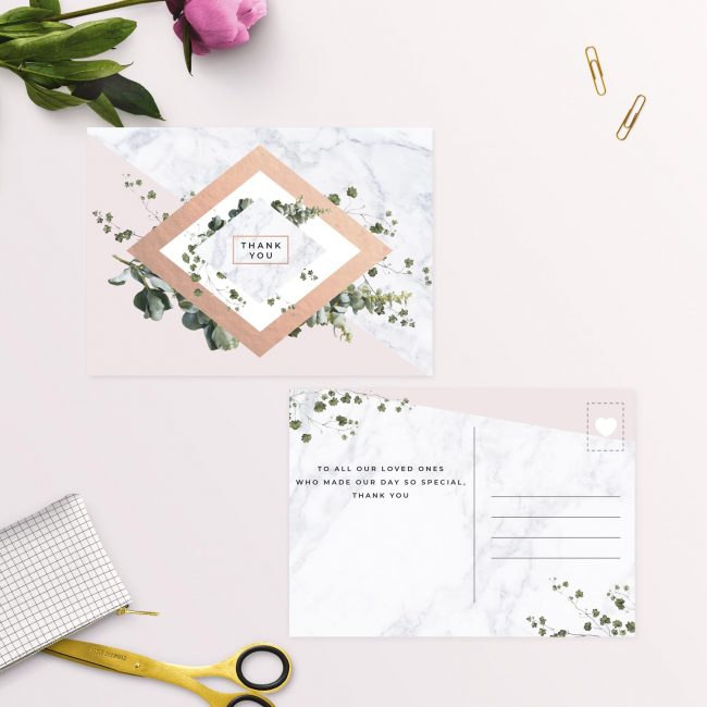 Modern Geometric Greenery Blush Pink Wedding Thank You Postcards