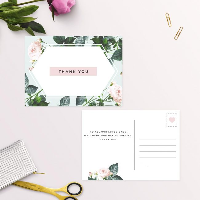 Floral Rose Garden Mint Green Pastel Wedding Thank You Postcards