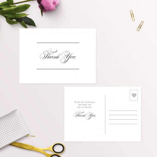 Beautiful Formal Script Calligraphy Wedding Thank You Postcards