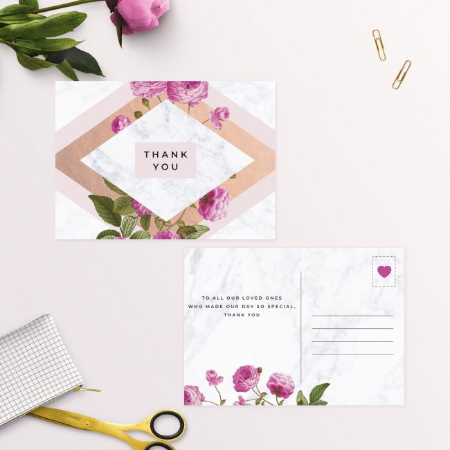 Modern Pink Floral Rose Gold Wedding Thank You Postcards