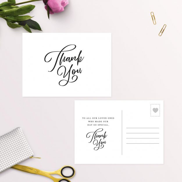 Simple Elegant Writing Wedding Thank You Postcards