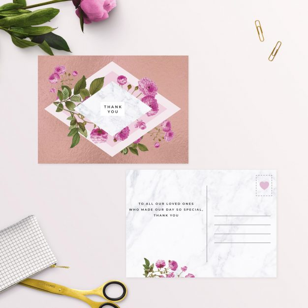 Floral Marble Pink Rose Gold Thank You Postcard