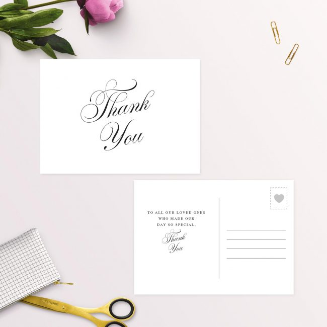 Elegant Vintage Calligraphy Script Thank You Postcard