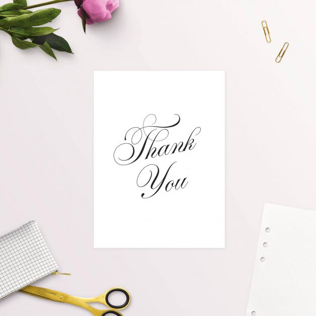 Elegant Vintage Calligraphy Script Wedding Thank You Cards