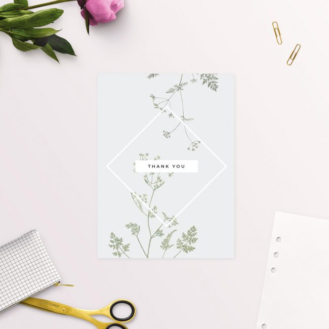 Wedding Thank you Cards Pale Grey Modern Botanical Thank You Cards Australia Sydney Melbourne Adelaide Sail and Swan