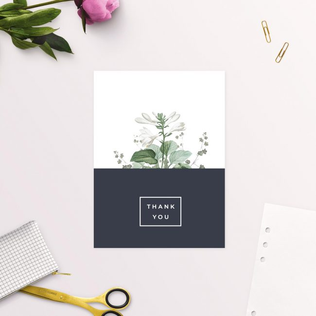 Green White Navy Modern Botanical Wedding Thank You Cards Modern Contemporary Navy Block Colour