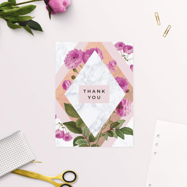 Modern Pink Floral Rose Gold Wedding Thank You Cards
