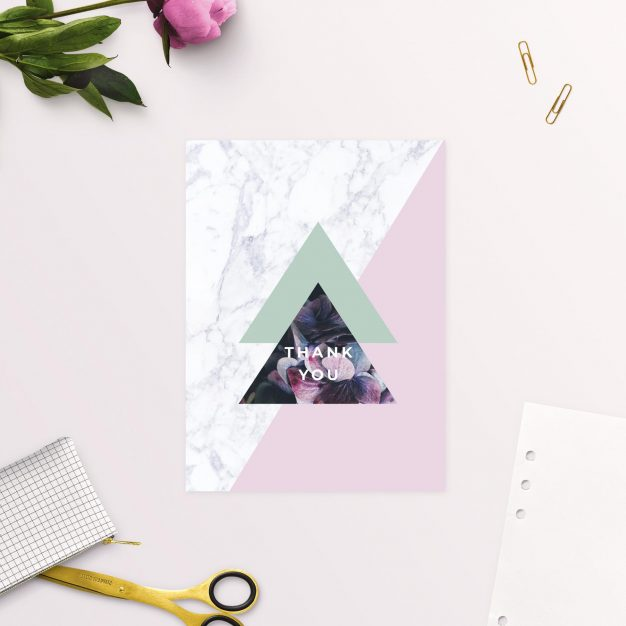Modern Geometric Marble Hydrangea Floral Thank You Cards