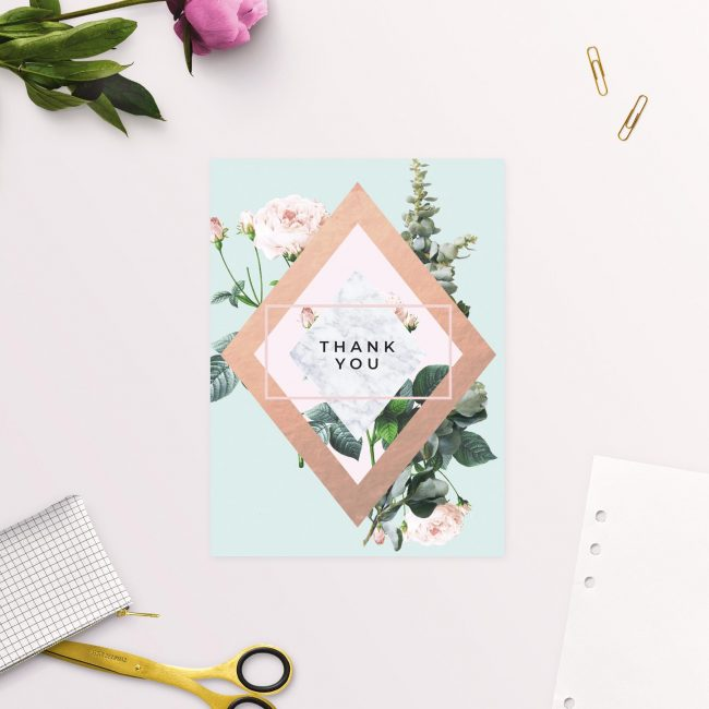 Floral Rose Garden Mint Green Pastel Wedding Thank You Cards