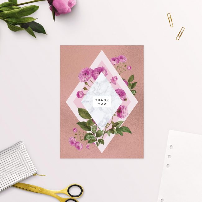 Floral Marble Pink Rose Gold Wedding Thank You Cards