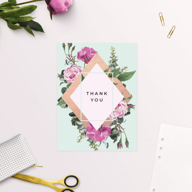 Jayne Austin Rose Wedding Thank You Cards Pink Roses Flowers Floral Green Leaves greenery