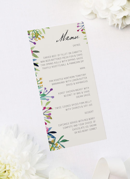 Forest Foliage Watercolour Floral Wedding Menus