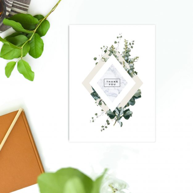 Marble Green Leaves Modern Botanical Wedding Thank You Cards Natural Greenery