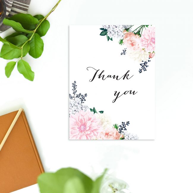 Berries Elegant Pastel Floral Wedding Thank You Cards