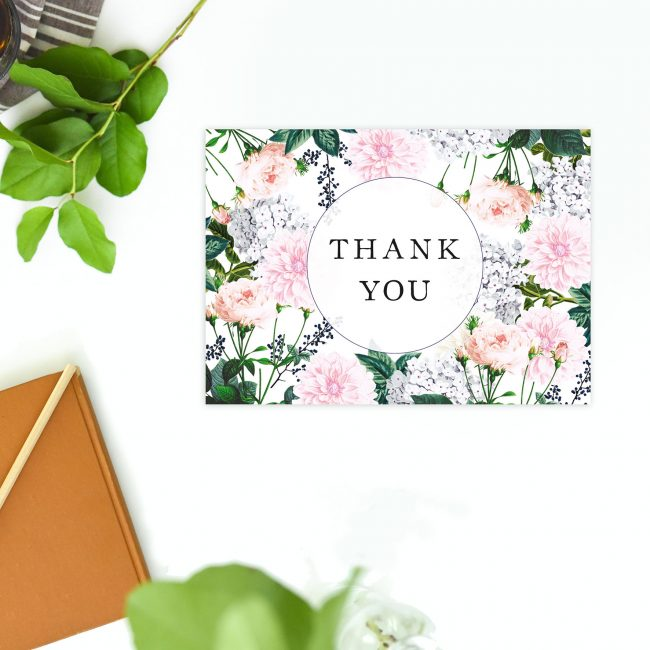 Berries Elegant Pastel Floral Wedding Thank You Postcards