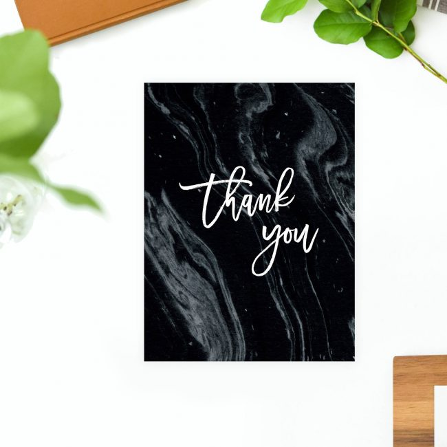 Black Marble Wedding Thank You Cards