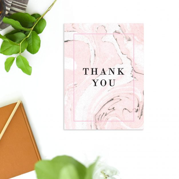 Sophisticated Modern Simple Blush Pink White Marble Wedding Thank You Cards