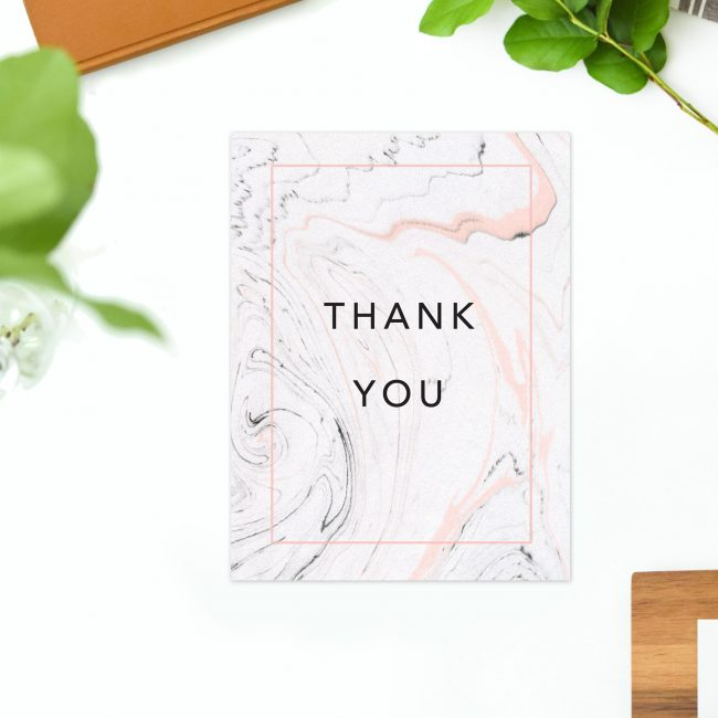 thank you card Pink Grey Marbled Wedding Thank You Cards marble swirl