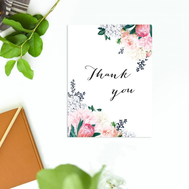 Pretty Protea Native Floral Wedding Thank You Cards