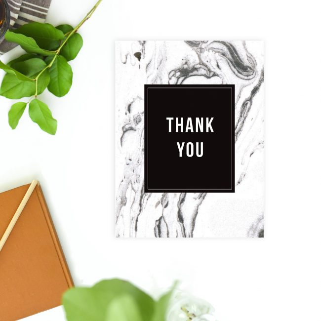 Modern Black White Grey Marbled Wedding Thank You Cards