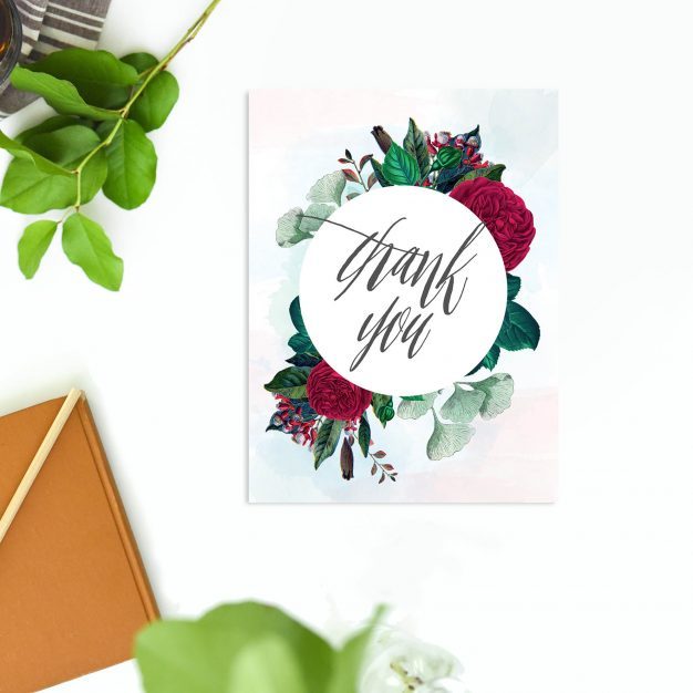 Red Burgundy Floral Wedding Thank You Cards
