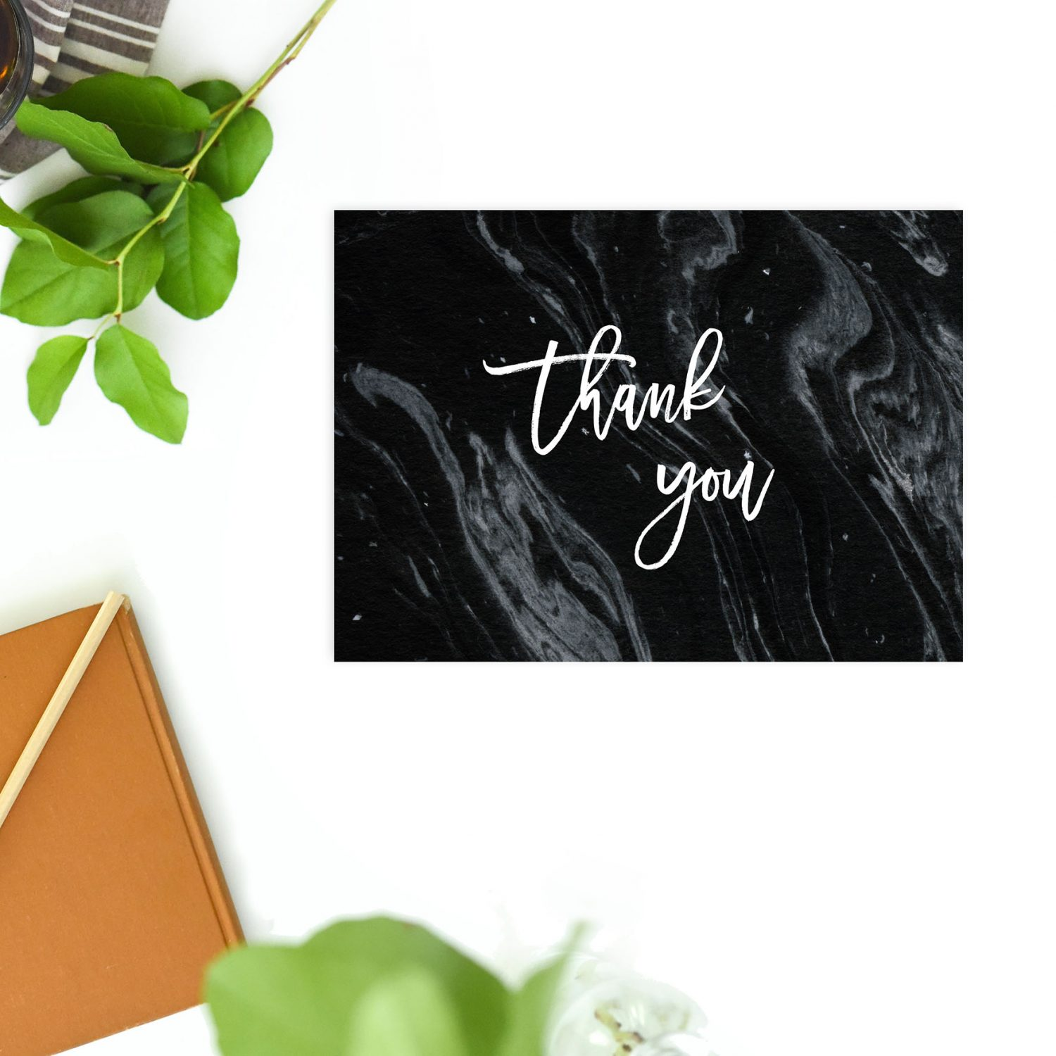 black marble wedding thank you postcards