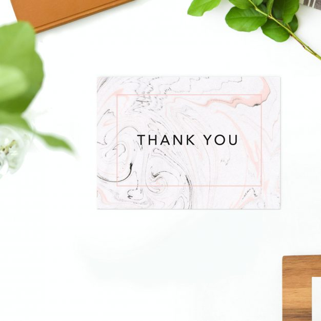 Pink Grey Marbled Wedding Thank You Postcards