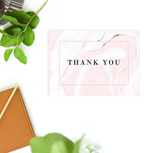 Sophisticated Modern Simple Blush Pink White Marble Wedding Thank You Postcards