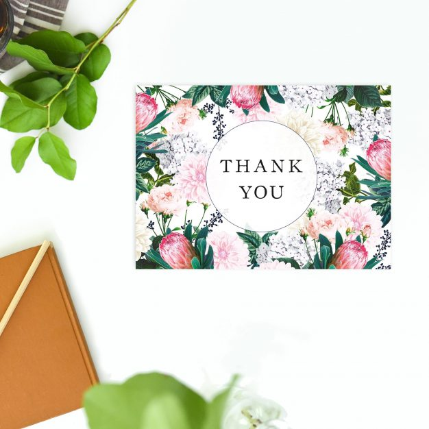Pretty Protea Native Floral Wedding Thank You Postcards