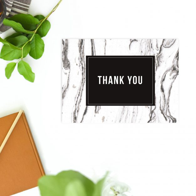 Modern Black White Grey Marbled Wedding Thank You Postcards