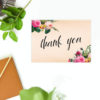 Romantic Pink Floral Rose Bouquet Wedding Thank You Postcards
