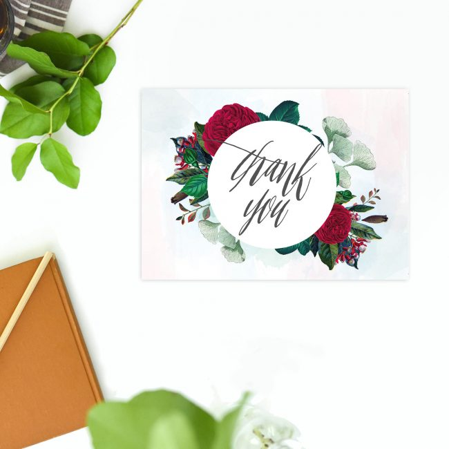 Red Burgundy Floral Thank You Postcard