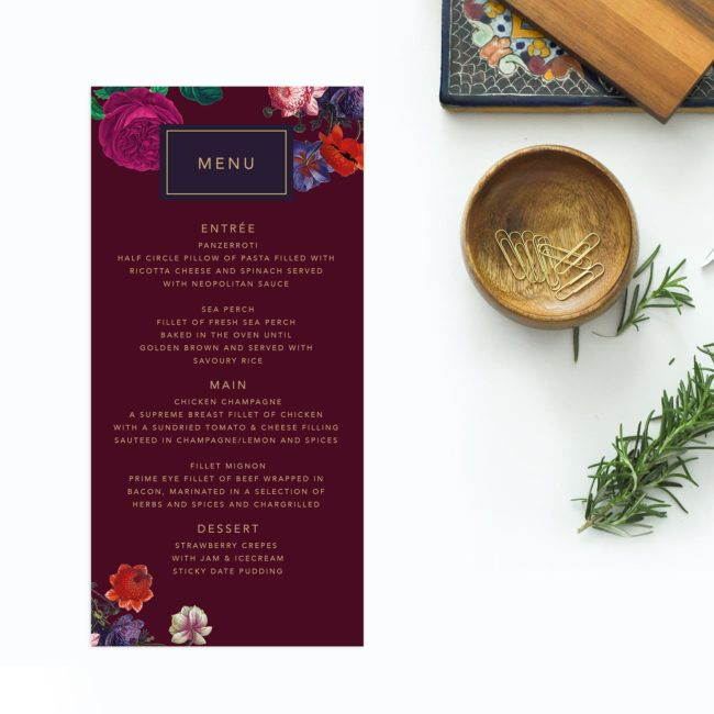 Floral Burgundy Red Purple Wedding Menus