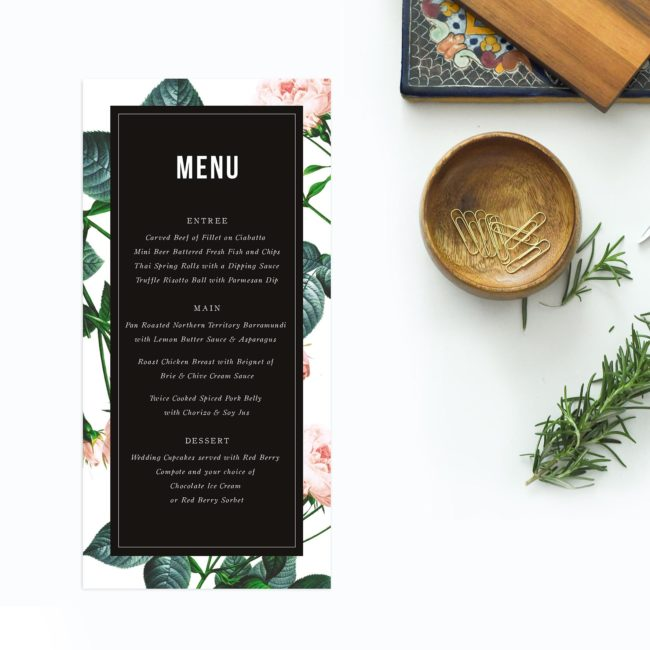 Modern Vintage Rose Wedding Menus