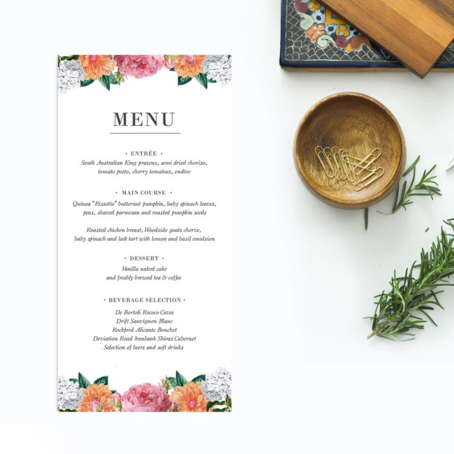 Vintage Botanical Wedding Menus