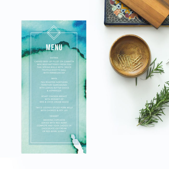 Turquoise Abstract Wedding Menus