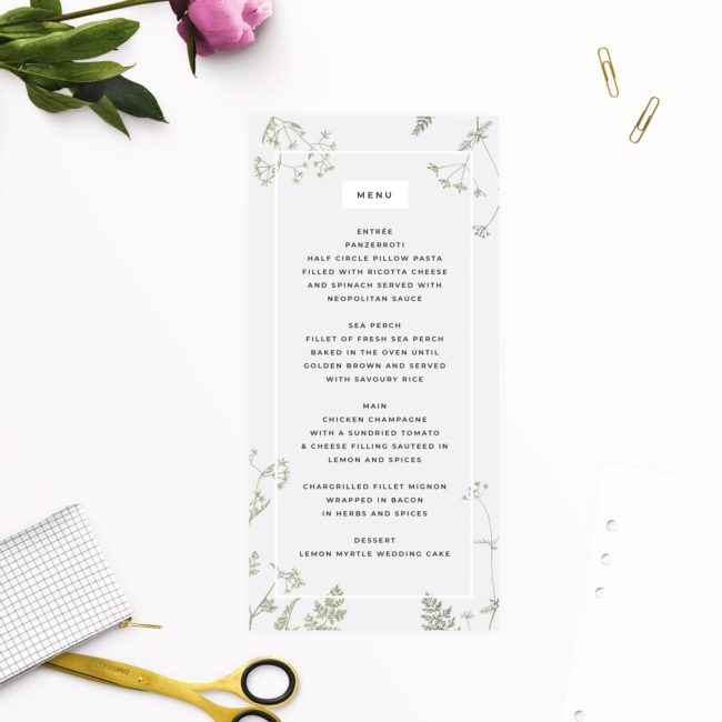 Pale Grey Modern Botanical Wedding Menus
